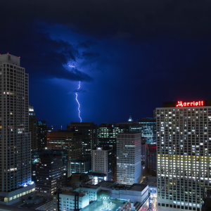 birds eye view of a marriott hotel in a lightning storm