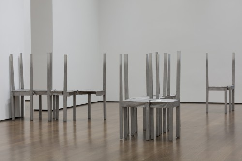 Installation view of Thou-less and untitled chair works in Doris Salcedo: The Materiality of Mourning, on display November 4, 2016-April 9, 2017 at the Harvard Art Museums. © Doris Salcedo. Photo: Harvard Art Museums; © President and Fellows of Harvard College.