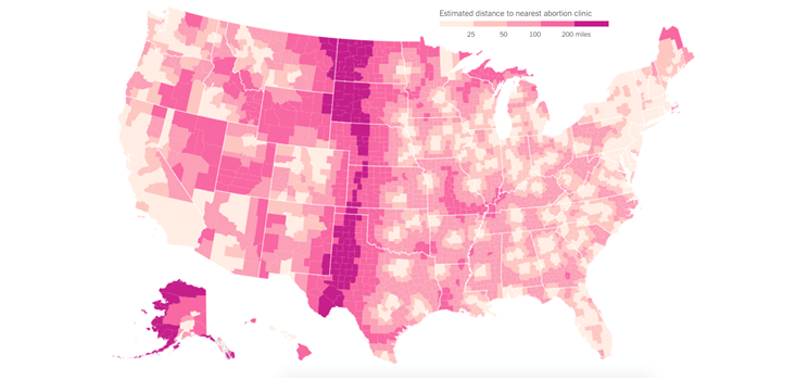 "Figure 1. Estimated distance to nearest abortion clinic. Soffen K. ""How Texas Could Set National Template for Limiting Abortion Access."" The Upshot: The New York Times, August 19, 2015. http://www.nytimes.com/2015/08/20/upshot/how-texas-could-set-national-template-for-limiting-abortion-access.html Accessed December 23, 2015."