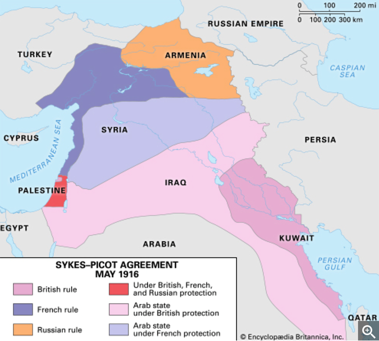 Figure 1. Map of the Sykes-Picot Agreement Sykes-Picot Agreement. Encyclopædia Britannica Web site. https://www.britannica.com/event/Sykes-Picot-Agreement Accessed February 22, 2017.