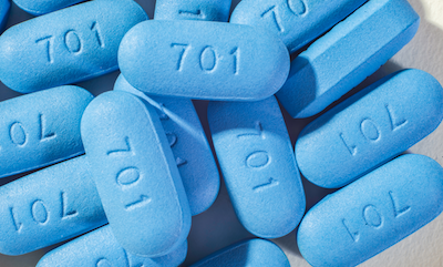 "Pre-exposure prophylaxis (PrEP) pills: oblong blue pills stamped with ""701"""