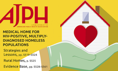 Cover of AJPH Supplement, showing a doctor's hand in latex glove holding a house, with a heart in the house