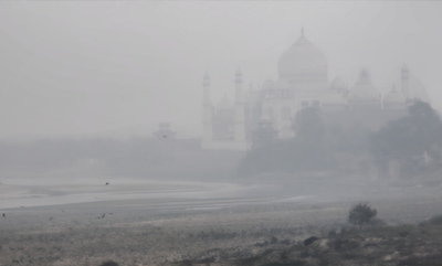 The Taj Mahal shrouded in smog.