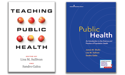 Side-by-side book covers for Teaching Public Heath and Public Health: An Introduction to the Science and Practice of Population Health