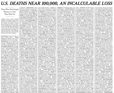US COVID Deaths May Be Undercounted by 20 percent - NY Times COVID deaths front page at 100,000