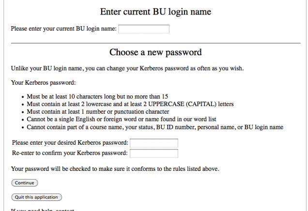 Faculty/Staff/Student Password Reset : TechWeb : Boston