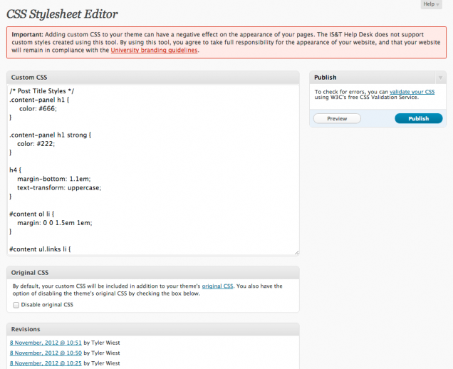 Use custom styles (CSS) : TechWeb : Boston University - 웹