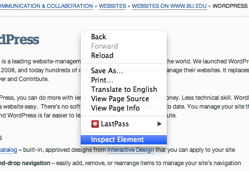 Find the dimensions of a web page element : TechWeb : Boston University