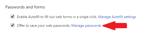 Chrome Manage passwords option