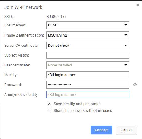 Using BU (802 1x) with Google Chromebook : TechWeb : Boston University