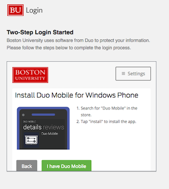 Enroll a Device : TechWeb : Boston University