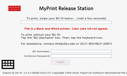 Login screen on printer_bw