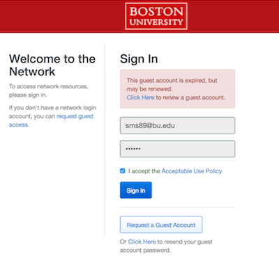 BU Guest (unencrypted) : TechWeb : Boston University