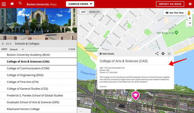 screen capture of maps interface with details box highlighted