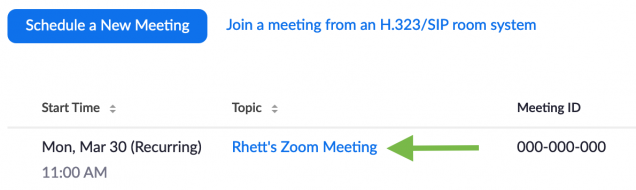 Zoom web meetings list with topic highlighted