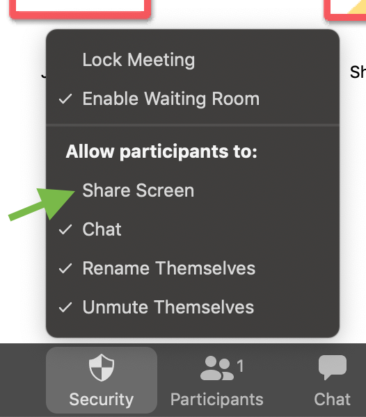 Zoom meeting security menu displayed with option to enable participant ability to screen share highlighted
