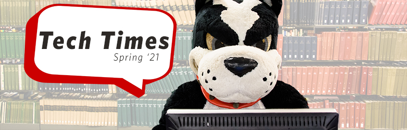 Boston Terrier mascot Rhett sitting at a computer, with a speech bubble to his right reading Tech Times Spring '21