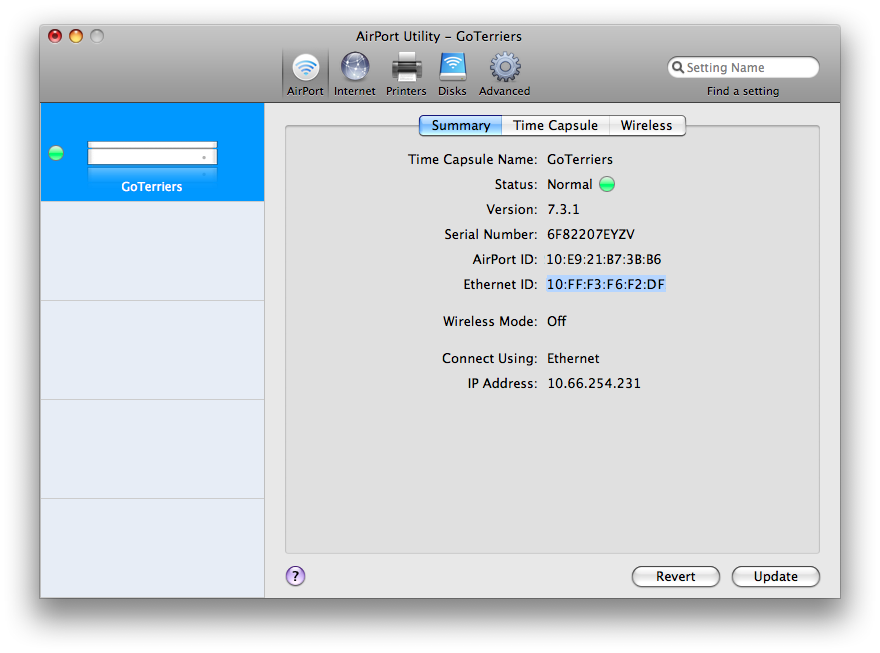 airport express mac address ethernet id